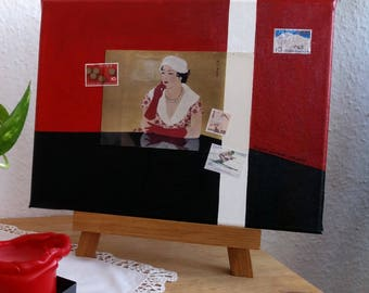 Red acrylic painting with woman | Collage with postcard and stamps from Japan