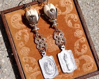PIKAKE FLORAL EARRINGS. Flower Earrings. Religious Medal Earrings. Repurposed Earrings. Assemblage Earrings by Hallowed Adornments.