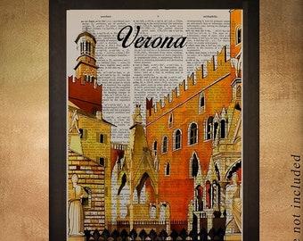SALE--ship June 25-- Vintage Verona Italy Travel Poster Dictionary Art Print Verona Poster Wall Art Home Decor Canal gondola da1275