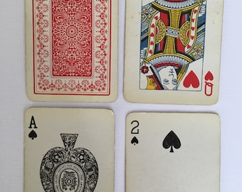 Playing cards, red patterned back, boxed.