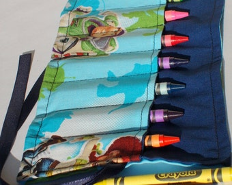 Crayon Roll Up Crayon Holder Woody And Gang - Holds 8 Crayons