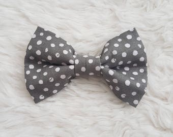 Boys Bow Tie - 'Grey and White Spot'