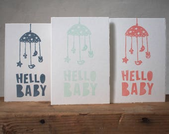 """Handprinted Greeting Card - Hello Baby - 10x15cm/A6/4x6"""" // Welcome, Baby Shower, Baby Card, Invitation"""