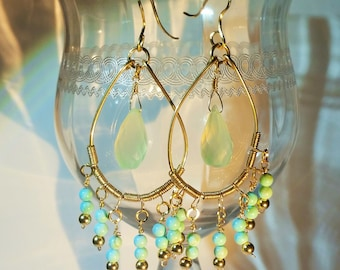 Gold Earrings, Turquoise, Chalcedony Gemstones, Wire Wrapped, 14K Gold Filled Large Chandelier Earrings, Fashion, Trendy, Handmade Jewelry