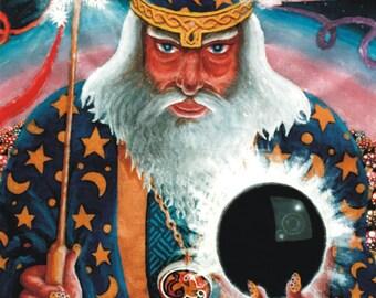Merlin UV Black Light Fluorescent & Glow In The Dark Phosphorescent Psychedelic Psy Goa Trance Art Postcard