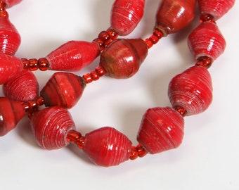 Paper Bracelet Single Stretch/Red/Recycled/JJ-BR-1