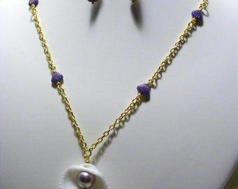 Purple and Gold Shell Jewellery Set