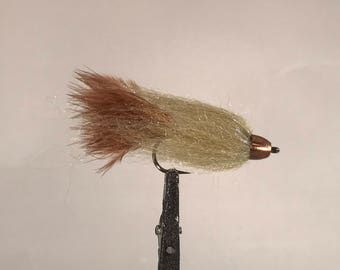 2 Size 4 Conehead Sculpin Sreamer (olive/ brown/ copper) Flies for Fly Fishing
