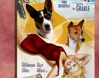Basenji Vintage Movie Style Poster Canvas Print  - Moon Over Miami  Perfect DOG LOVER GIFT Gift for Her Gift for Him Home Decor
