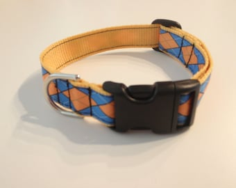 Blue and Gold Argyle Dog Collar