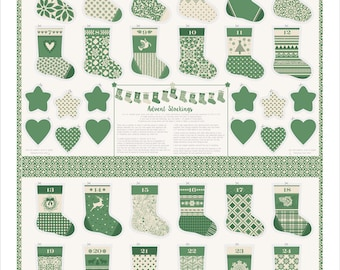 Merry Merry Spruce (27270 11) Advent Calendar Stockings by Kate Spain - 1 panel