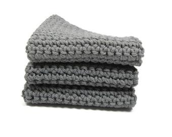 Gray Crochet Cotton Dish Cloth Wash Cloth Set of Three