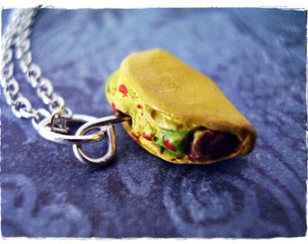 Crunchy Taco Necklace - Yellow Enameled Ceramic Taco Charm on a Delicate Silver Plated Cable Chain or Charm Only