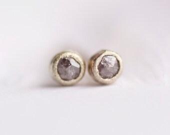 Tiny Diamond Earrings. Diamond Stud Earrings. Diamond Studs. Rose Cut Diamond Earrings. Tiny Diamond Stud Earrings.