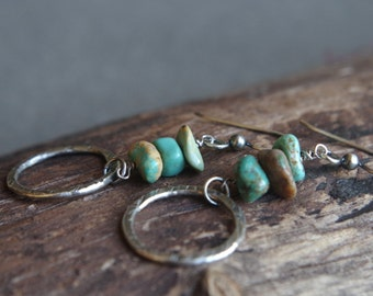 Fine silver and turquoise earrings - Handcrafted silver dangles - Organic circles, semi precious stones - Boho earrings