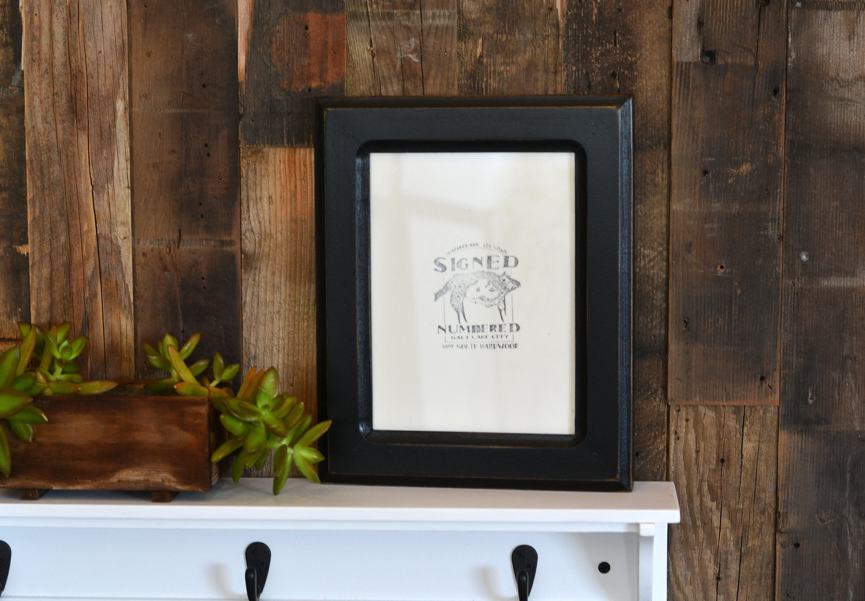 6x8 Picture Frame in Wide Double Cove Style with Vintage Black ...
