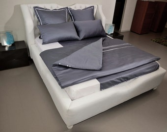 Silver Knight COMPLETE BEDDING SET, Double/Queen/King dark grey 100% cotton sateen, custom made, fitted/flat sheet, duvet cover white ribbon