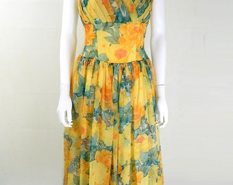 1950s Vintage Yellow Floral Chiffon Prom Dress UK Size 10