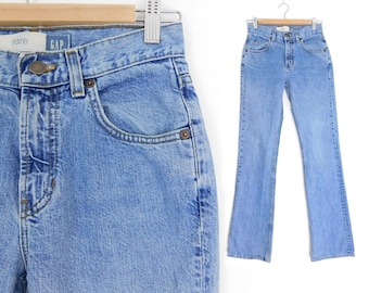 Sz 2 L 90s GAP Flare Jeans - Vintage Women's Mid Rise Stone Wash Blue Bellbottom Jeans - Made in USA