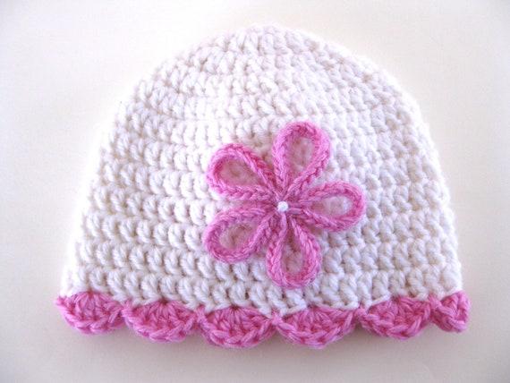 Pattern Preemie Crochet Hat Shell Edge Flower Pdf Girl Baby