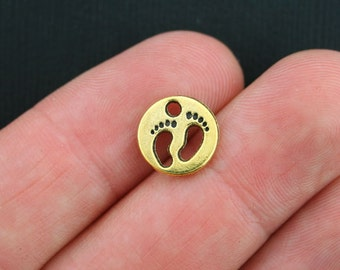 10 Footprints Charms Antique Gold Tone 2 Sided - GC315