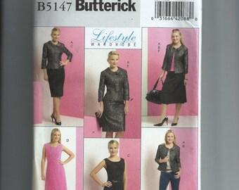 Butterick Misses' /Misses' Petite Jacket, Top, Dress, and Skirt Pattern B5147