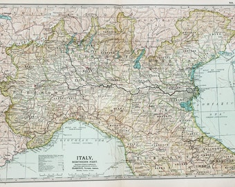Antique Map : Northern Italy, Alps, Mountains. Encyclopedia Britannica, 1890s (31)