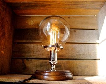 Glass Globe Edison Bulb Table Lamp - Industrial Lighting, Modern Decor