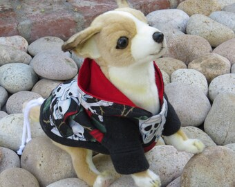 Skull & Roses Hoodie for Dog or Cat XSmall-Medium by Cozy Pawz