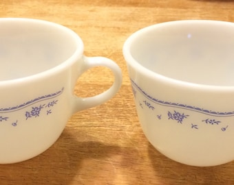 Pair of Pyrex Coffee Cups with Blue Morning Pattern, Milk Glass, Made in USA