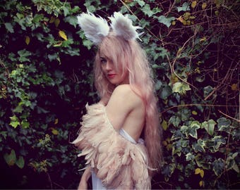white cat feather ears, dressing up ears