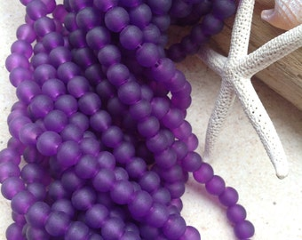 Purple sea glass beads-4mm drilled recycled beads-cultured beach glass bead-round glass-frosted tumbled glass-beading supplies-beach bead