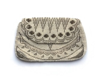 Art Deco Purse | Vintage Beaded Bag | 1930's Beaded Purse | Ivory White | Rayon Linings | Back Strap | Pearlised Seed Beads