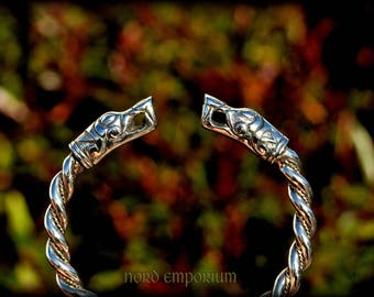 Gotland bracelet Limited Golden Edition (Sterling Silver and 14k Gold) Viking Dragons Head, Viking Arm Ring, Viking Gold Jewelry