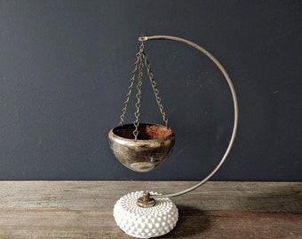Hobnail Milk Glass Arc Hanging Planter with Silver Rustic Basket Vintage Banana Stand Silver Basket