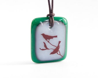 Bird Necklace Pendant - Bird on Tree Jewelry / Nature Jewelry, Silhouette / love birds necklace / lovebirds jewelry / love birds jewelry