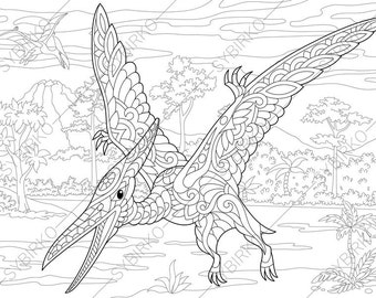 pterodactyl dinosaur pterosaur dino coloring pages animal coloring book pages for adults instant download print