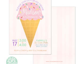 Ice Cream Birthday Party Invitation | Ice Cream Invitation | Ice Cream Cone Invitation - 5x7 with reverse side