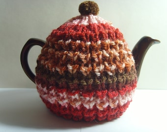small tea cosy cozy red brown cream pink handmade gift idea free postage free shipping free post