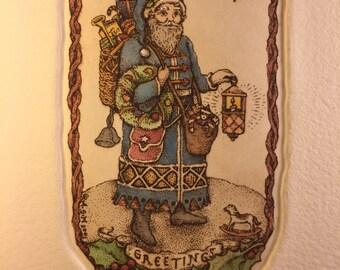 Father Christmas, vintage Santa, wall art, etching