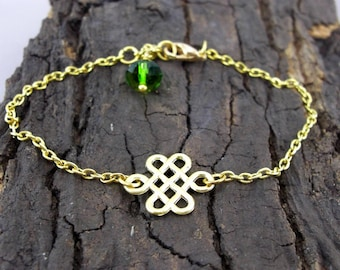 Bracelet Celtic knot gilded love knots with pearl