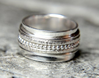 Spinner Ring, Meditation ring, Fidget ring, beaded spinner, Stress ring, Wide silver ring, Sterling Silver Ring, Gifts for her, 5 spinners!