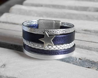Navy blue leather Cuff Bracelet and silver (BR121)