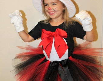 Cat in the Hat costume,Dr. Suess inspired Cat costume,Girls Cat in the hat costume,Girl Cat Halloween costume,red and black tutu,Dr. Suess,