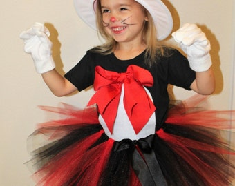 Cat in the Hat, Halloween costume, Halloween, Cat costume, Cat in the hat costume, Dr. Suess, girl costume, girls costume, black, red, tutu