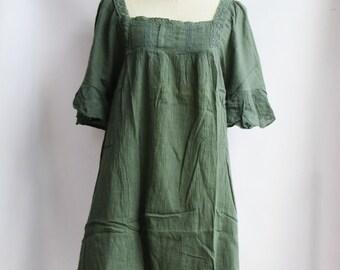 D24,Jade Green Butterfly Effect Cotton Dress