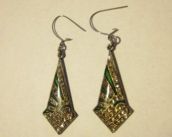 Beautiful 1920-30s Sterling Silver, Enamel and Rhinestone Art Deco Earrings
