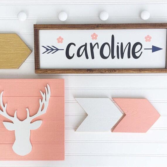 Boho Baby Nursery Set . Woodlands Fawn. Baby Name Sign . Deer Head . Antler Nursery . Arrows  . Woodland Nursery .  Boho Nursery