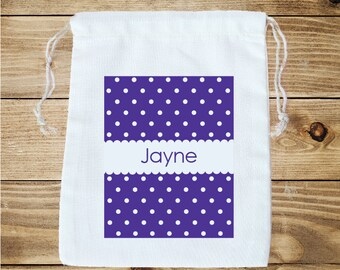 Tiny Dots Personalized Cotton Favor Bag