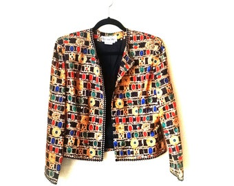 Vintage 1990s baroque gold link chain jewels bomber jacket